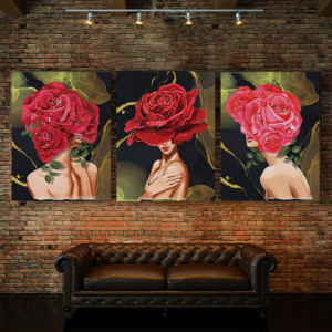 Set tablouri canvas - Rose Lady Gold Background