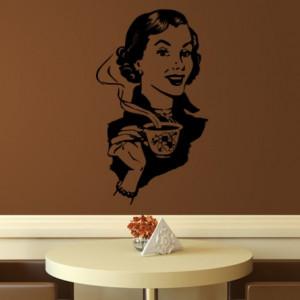 Sticker De Perete Femeie La Cafea