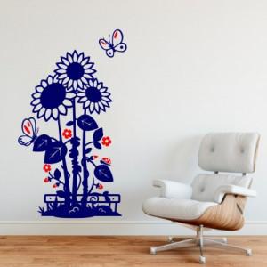 Sticker De Perete Floarea Soarelui (In Doua Culori)
