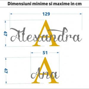 Sticker De Perete Nume In Doua Culori Cu Initiala