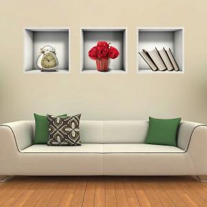 Sticker de Perete Raft cu Carti si Flori 3D