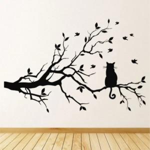 Sticker De Perete Tree Branch Cat