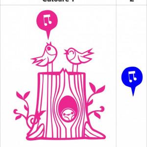 Sticker De Perete Trunchi De Copac Cu Pasari (In Doua Culori)