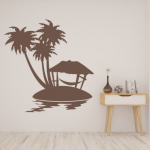 Sticker Palm Tree Scene Tropical Beach