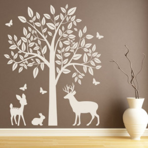 Sticker Woodland Animals Tree