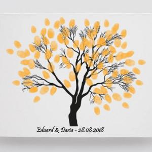 Tablou Canvas Finger Print Tree Maroon