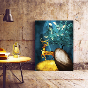 Tablou Canvas Golden Deer on the Rocks