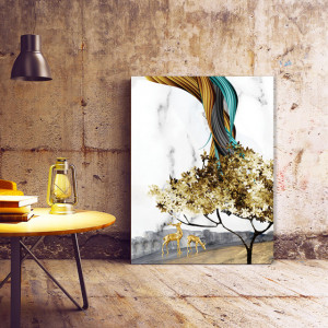 Tablou Canvas Golden Tree And Abstract Rainbow