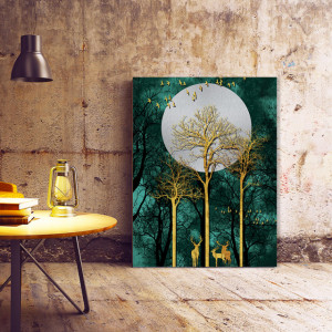 Tablou Canvas Moon Behind The Golden Trees
