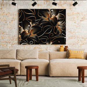Tablou Canvas Royal Golden Lilies