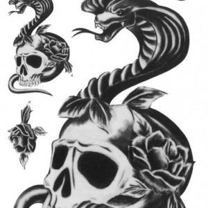Tatuaj temporar -skull and snake- 17x10cm