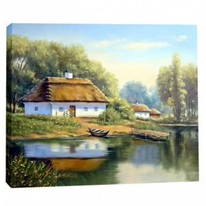 Tablou canvas efect pictura - Casa langa lac