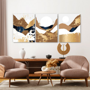 Set tablouri canvas - Golden autumn abstract landcsape