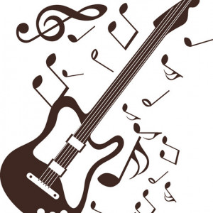 Sticker De Perete Chitara Si Note