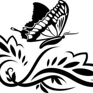Sticker De Perete Floare Cu Fluture