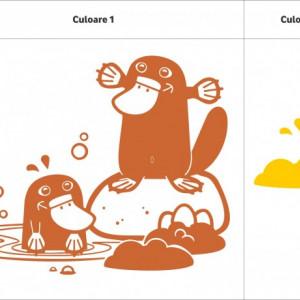 Sticker De Perete Ornitorinci (In Doua Culori)