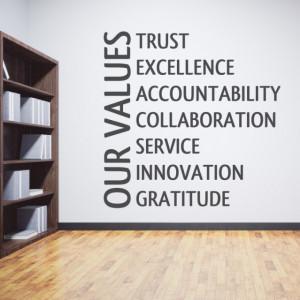 Sticker de Perete Our Values - Valorile Noastre