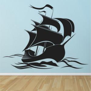 Sticker de Perete Pirate Ship Jolly Roger