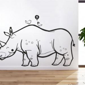 Sticker De Perete Rinocer Cu Pasari