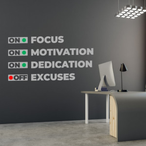 Sticker Focus motivation dedication excuses