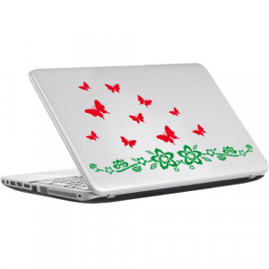 Sticker laptop - floare si fluturi 01