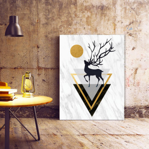 Tablou Canvas Deer And Abstract Shapes