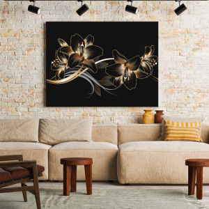 Tablou Canvas Golden floral swirls