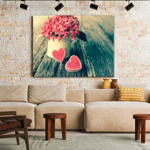 Tablou Canvas Pink Hearts and Flowers