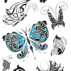 Tatuaj temporar -blue butterfly- 17x10cm