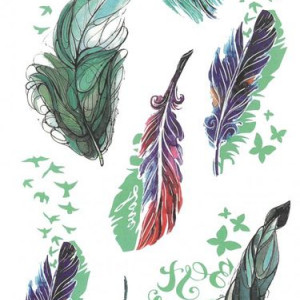 Tatuaj temporar -colorful feathers- 10x17cm
