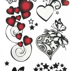Tatuaj temporar -hearts- 17x10cm