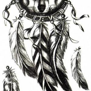 Tatuaj temporar Lup-DreamCatcher-Wolf-pene 21x15cm