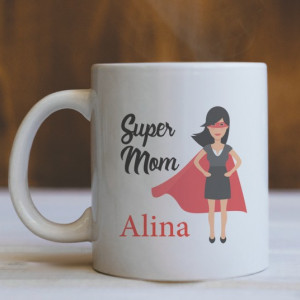 Cana Cu Mesaj - Super Mom (Nume)