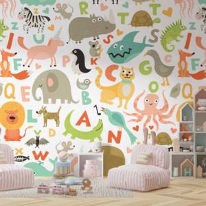 Foto tapet Camera copiilor Alfabet si animale