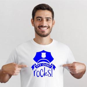 Imprimeu tricou My dad rocks cu sapca de politist