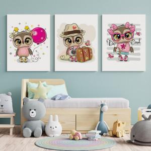 Set Tablouri Copii - Cute owls