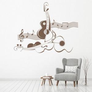 Sticker De Perete Abstract Violin Music