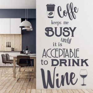 Sticker De Perete Coffee And Wine