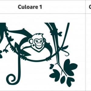 Sticker De Perete Maimuta Pe Creanga (In Doua Culori)