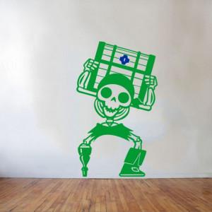 Sticker De Perete Schelet Cu Cufar (In Doua Culori)