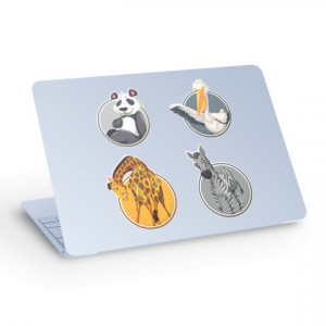 Sticker laptop animale - panda, zebra, girafa, barza