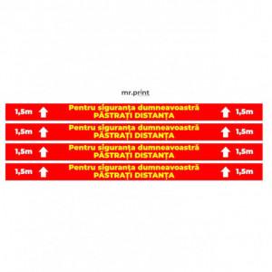 Sticker Semnalizare COVID - Pastrati Distanta 1.5 M