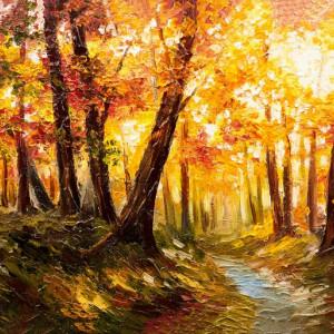 Tablou Canvas Efect Pictura Peisaj De Toamna