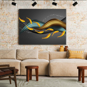 Tablou Canvas Golden Fishes and 3D Waves