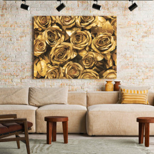 Tablou Canvas Golden Roses bouquet