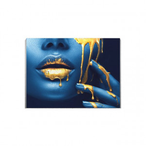 Tablou Canvas Golden temptation 4 - Blue Pearl
