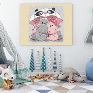 Tablou copii - Hipopotami sub umbrela
