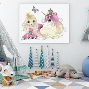 Tablou copii - Princess and the unicorn
