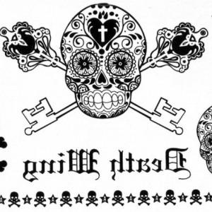 Tatuaj temporar -Craniu diverse forme si elemente- 15x11cm