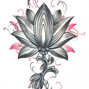 Tatuaj temporar -Floare Lotus- 17x10cm